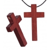 Cross Wooden Religious 24x42mm Mahogany with 3.5mm Large Hole